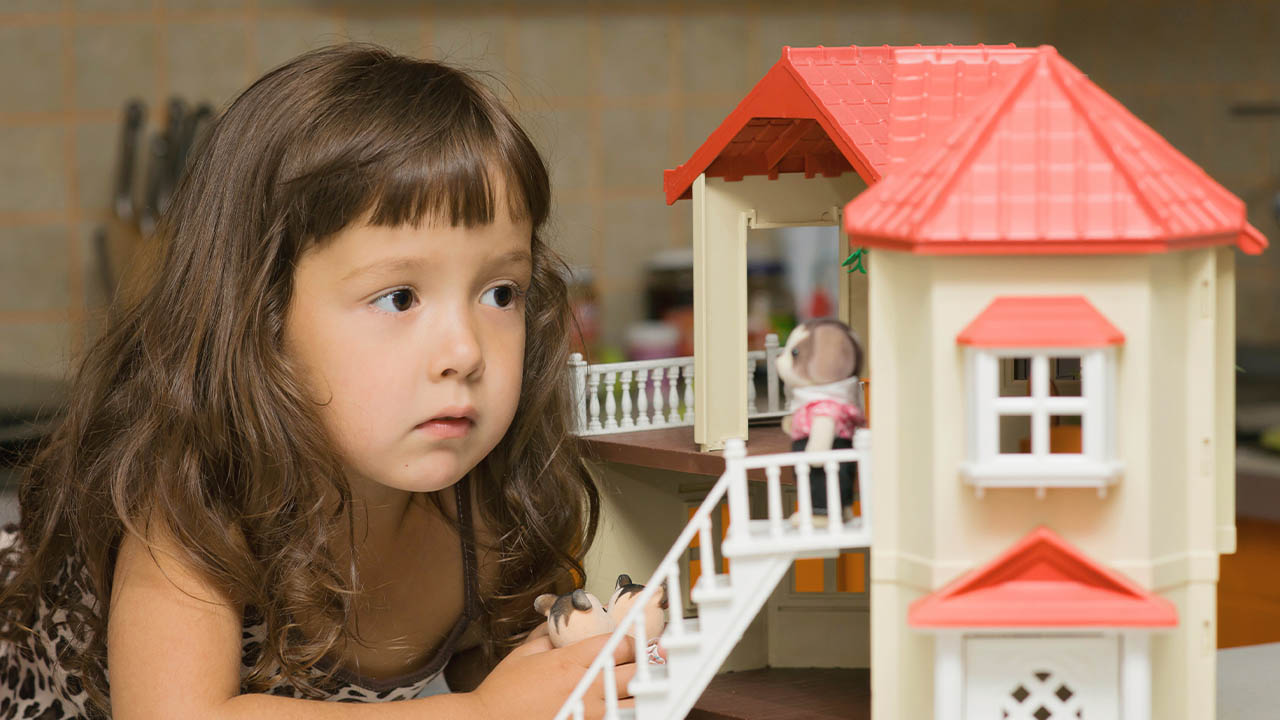2 Year Old Playing with Dollhouse